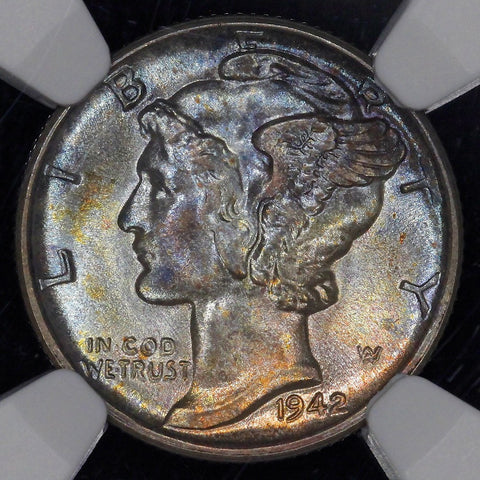 1942-S Mercury Dime - Gorgeously Toned - NGC MS 66