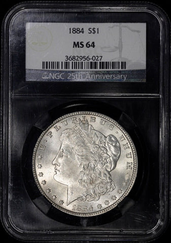 "1884 Morgan Dollar - NGC 64 - 25th Anniversary Black Core ""Retro"" Holder"