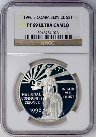 1996-S Community Service Commemorative Silver Dollar - NGC PF 69 Ultra Cameo