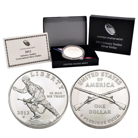 2012-W Infantry Soldier Commemorative Silver Dollar in OGP w/ COA
