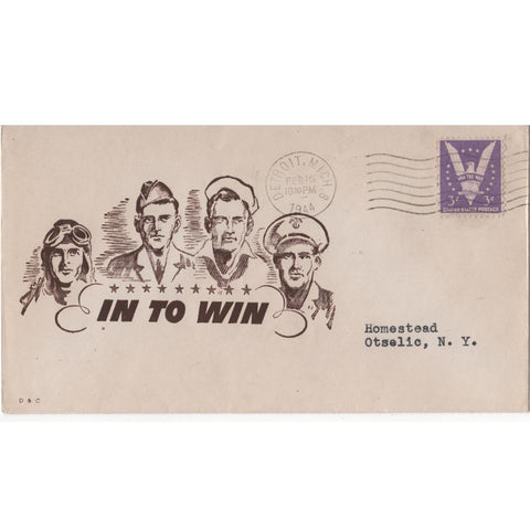 "Feb. 18, 1944 ""In To Win"" WW2 Patriotic Cover"