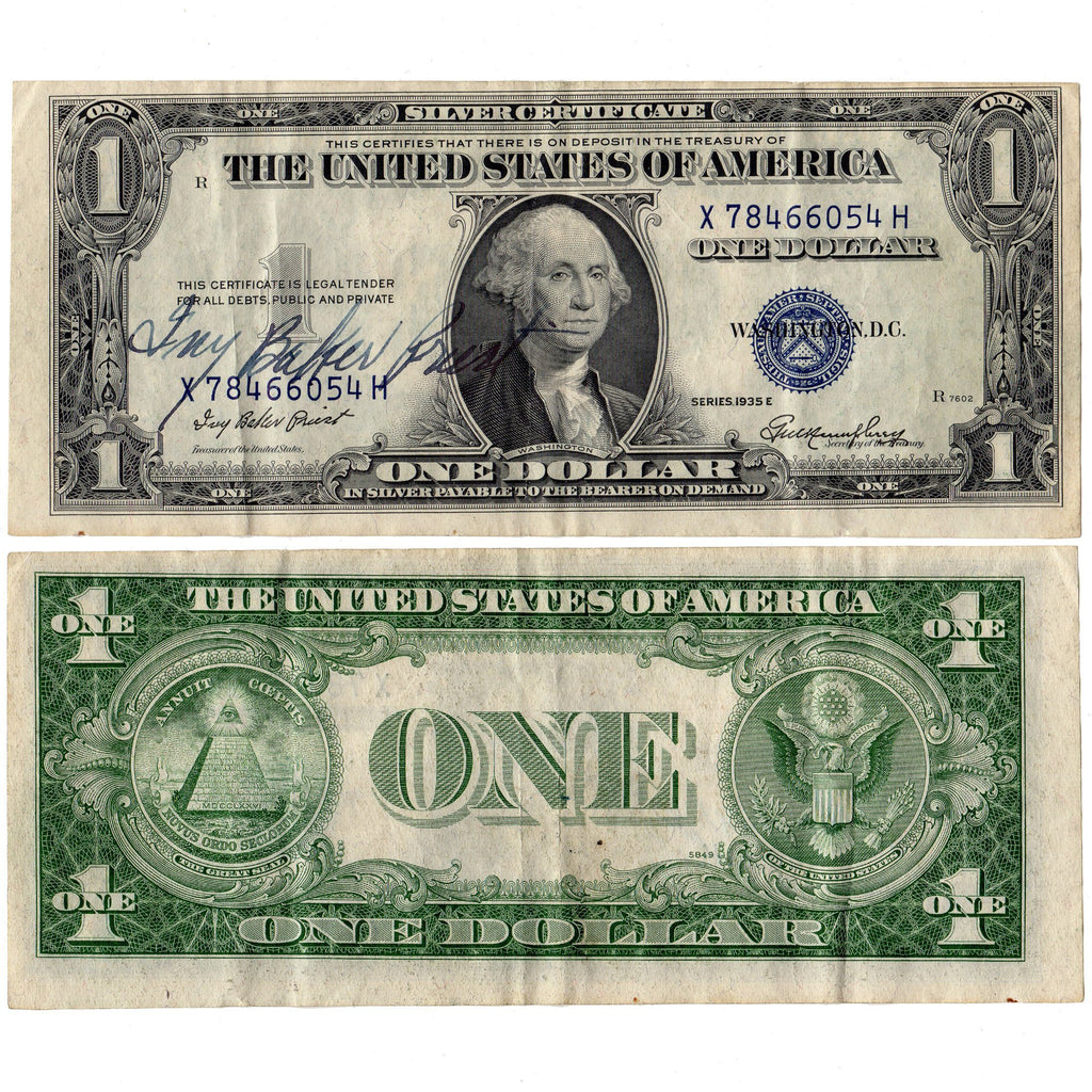 1935 E Ivy Baker Priest Courtesy Signed 1 Silver Certificate Cris