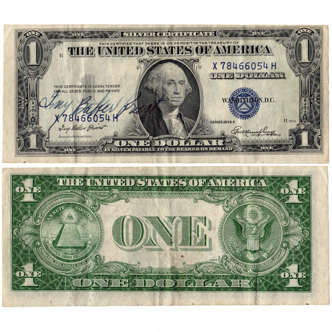 "1935-E ""Ivy Baker Priest"" Courtesy Signed $1 Silver Certificate - Crisp Very Fine"