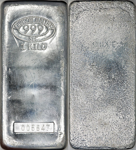 Johnson Matthey 1 Kilo Silver Bullion Bar 32 15 Ounces