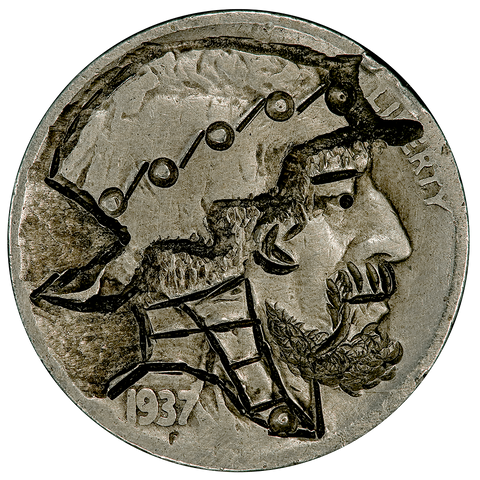 (Early 80s) 1937 J. Press Hobo Nickel - XF/AU Hand Carving - Fine Nickel