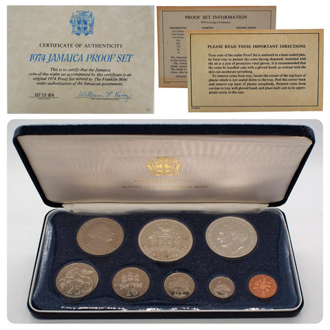 1974 Jamaica Proof Set - Minted At The Franklin Mint