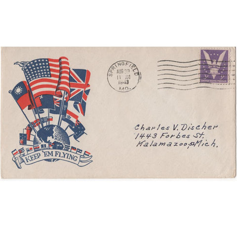 "Aug. 30, 1943 ""Keep 'Em Flying"" WW2 Patriotic Cover"