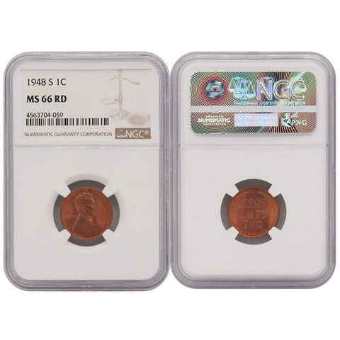 1948-S Lincoln Cent - NGC - MS66 RD