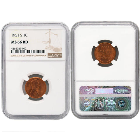 1951-S Lincoln Cent - NGC - MS-66 RD