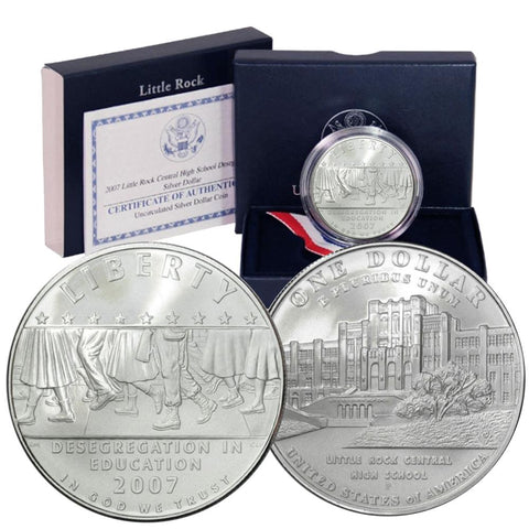 2007-P Little Rock Commemorative Uncirculated Silver Dollar w/OGP & COA