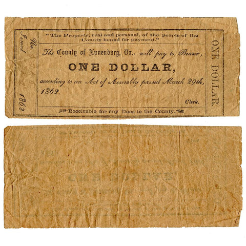 March 29th, 1862 County of Lunenburg, Va One Dollar Note - Very Good