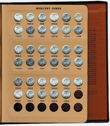 1934 to 1945 P-D-S Mercury Dime Set (BU) in Deluxe Bookshelf Album