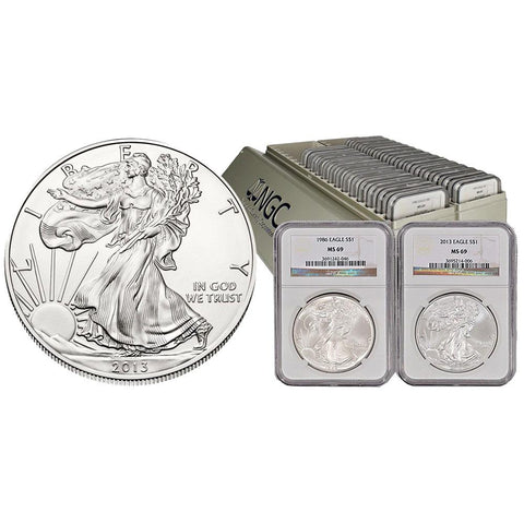 1986 to 2020 American Silver Eagle 35-Coin Set Certified by NGC at MS 69