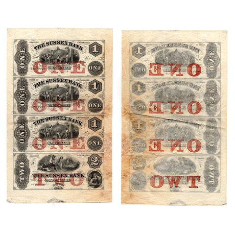 1850s Sussex Bank Newton, New Jersey $1-1-1-2 Uncut Sheet NJ-390-X1 - Very Fine/Extremely Fine