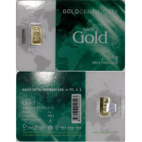 1 gram Nadir .9999 Gold Bars in Assay Card
