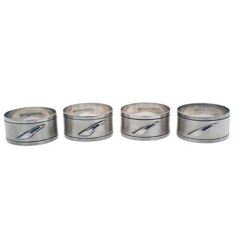 Set of Four Concorde - British Airways Sterling Silver Napkin Ring Holders