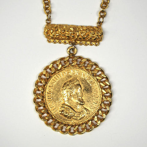 Massive Alice Caviness Vintage Gold Tone Coin Necklace