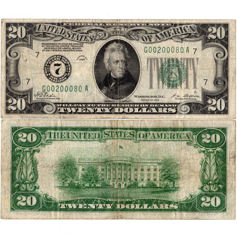1928 $20 Federal Reserve Note (Chicago District) Fr. 2050-G - Very Fine