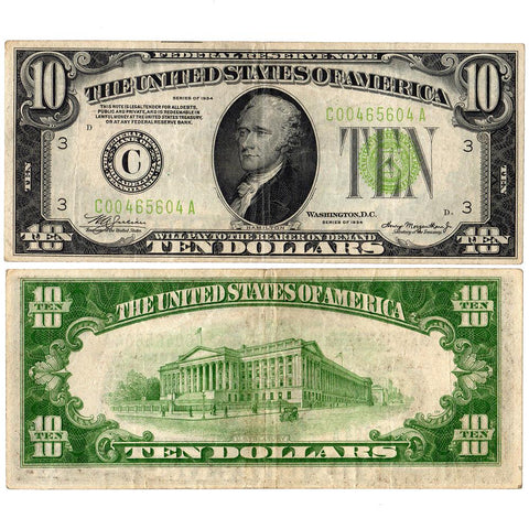 1934 $10 Federal Reserve Note Philadelphia District Fr. 2004-C - Very Fine