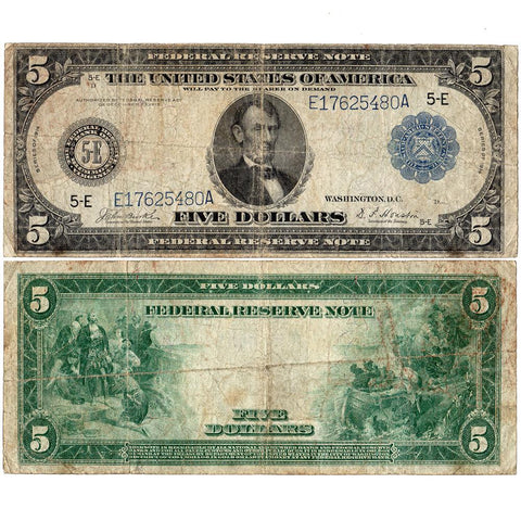 1914 $5 Richmond Federal Reserve Note Fr. 862 - Fine
