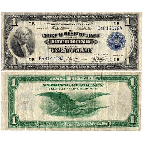 1918 $1 Richmond Federal Reserve Bank Note (Fr.721) - Apparent V.F.