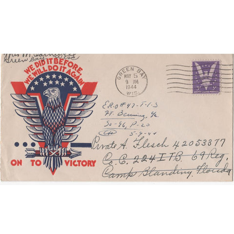 "May 5, 1944 ""On to Victory"" WW2 Patriotic Cover"