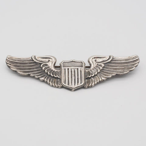 WWII U.S. ARMY Air Force Pilot Wings Sterling Silver Pin