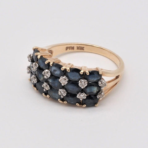 10K Gold Natural Sapphire & Diamond Ring