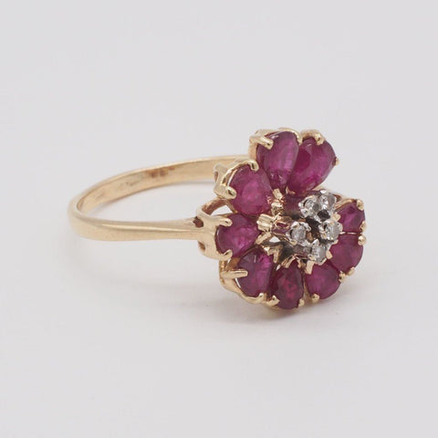 14K Gold Natural Ruby & Diamond Ring