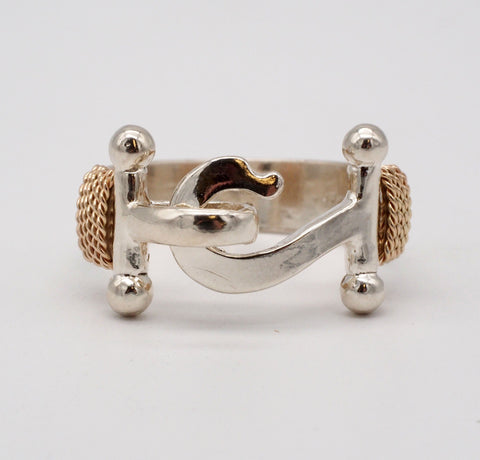 Caribbean Hook Sterling Silver 14K Gold Ring