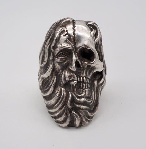 Huge Sterling Silver Signed Skull Biker Ring