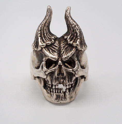 Horned Skull Sterling Silver Biker Ring