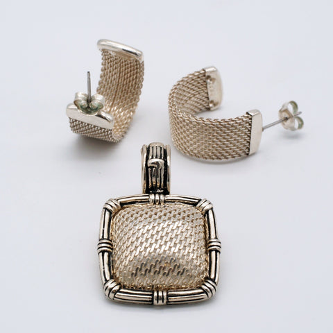 Joseph Esposito Sterling Silver Mesh Earrings & Enhancer Pendant