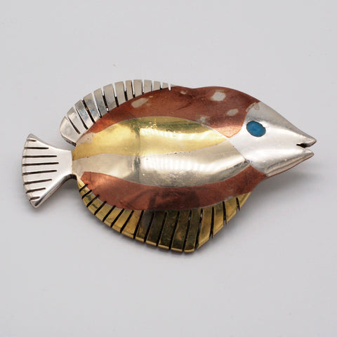 Mexican Taxco ''Metales Casados'' Sterling Silver Fish Brooch
