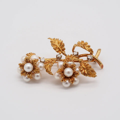 Magnificent Signed 18K Gold Diamond  & Pearl Brooch