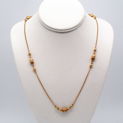 14K Gold Five Italian Eggcorn Necklace