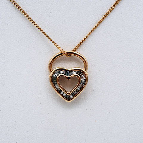 Heirloom Redesign 14K Gold & Diamond Heart Pendant 18''