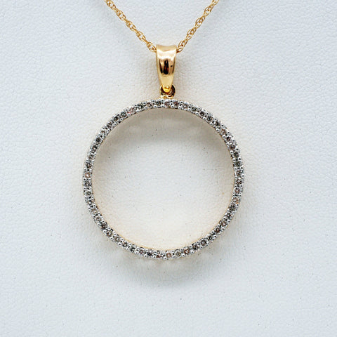 14K Gold Diamond Circle Necklace