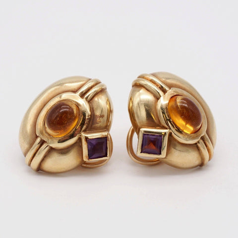 Egyptian Citrine & Amethyst 14K Gold Earrings
