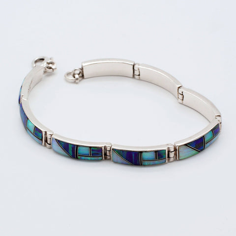 Signed Sterling Silver Mosaic Opal Inlay Bracelet