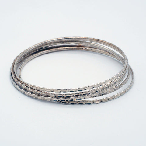 Set of 5 Sterling Silver Textured Bangle Bracelets