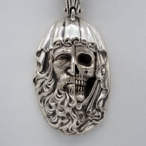 Half Skull Face Sterling Silver Necklace