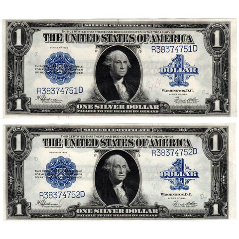 Pair of Consecutive 1923 U..S. Large Size Silver Certificates Fr. 237 - Crisp Uncirculated