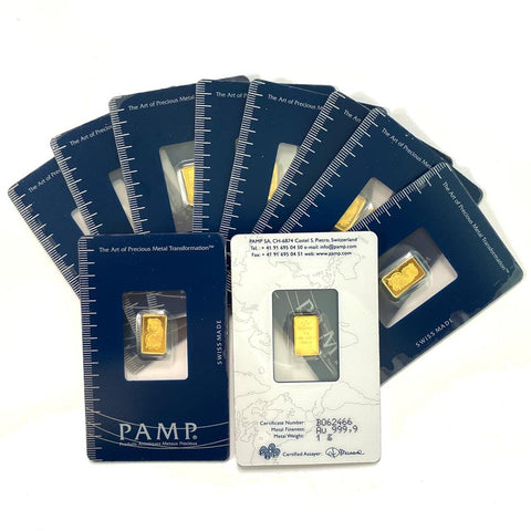 1 gram PAMP Suisse Fortuna .9999 Gold Bars in Assay Cards