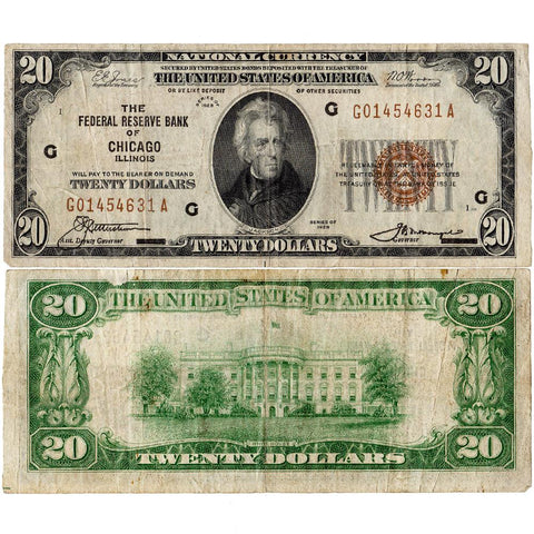 1929 $20 Chicago Federal Reserve Bank Note Fr. 1870-G - Very Fine