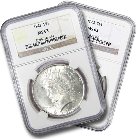 Common Date 1922 & 1923 Peace Dollars in NGC MS 63 - Freshly Made