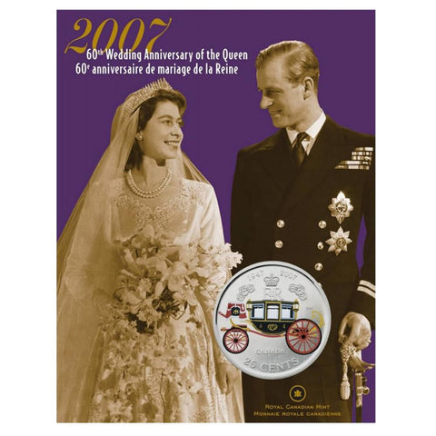 2007 Canada 25 Cents 60th Wedding Anniversary of the Queen Coin