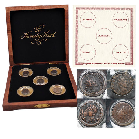The Normanby Hoard Set of 5 Bronze Antoninianus Coins 253-275 AD. w/ Deluxe Wood Case