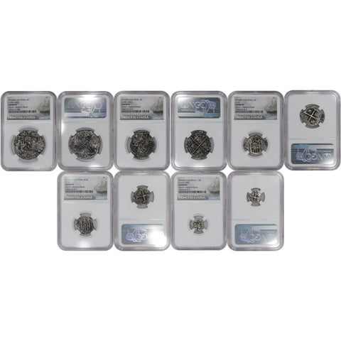 Princess Louisa Shipwreck 5-Coin Pieces of Eight Cob Set (8/4/2/1/Half Reales) - NGC Genuine