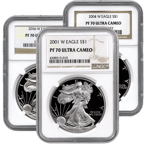 2006-W Proof American Silver Eagles in NGC PF 70 UCAM